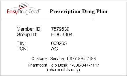 RX Drug Card for use at pharmacies